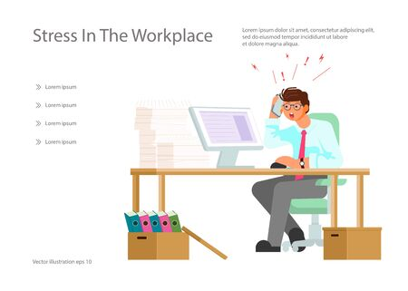 Landing web page template with Stressed man working hard with a lot of papers, piles of documents, computer, telephone calls. Office work, work load concept. Flat Art Vector Illustration
