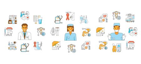 Medical aid fond in flat line style. Male and female doctor surgeon and medicine icons. Isolated on white background. Vector illustration
