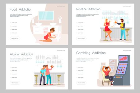 Set of Landing web page template Addicted and Bad habits people. Unhealthy lifestyle. Alcoholism, smoking, gambling addiction, smartphone shopping and food addictions. Flat Art Vector illustration Stock Illustratie