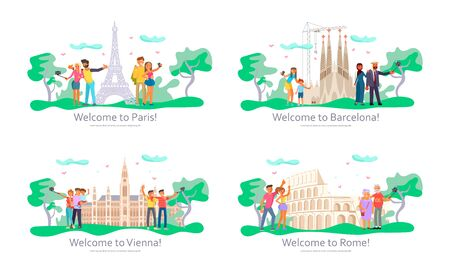 Set of Landing web page template. People characters travel. Voyage around Europe and make a photo in Paris, Barcelona, Vienna and Roma. Flat Art Vector illustration
