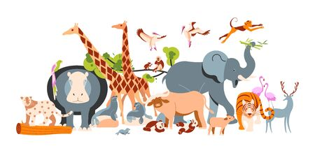 Zoo invite banner design. Zoological garden template with various animals and birds. Flat Art Vector illustration