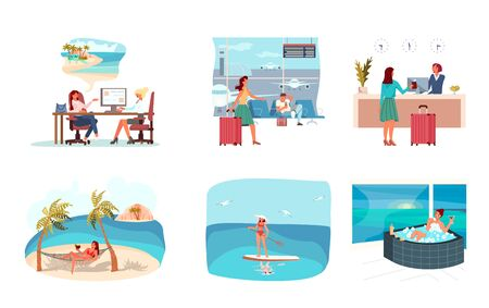 Womans Journey story hoice trip in travel agency, airport hall and boarding, check in at hotel reception, have rest in hammock on the beach, sea activities, spa procedure Flat Art Vector Illustration 向量圖像