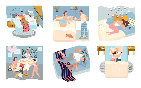 Bundle of concepts of people spending time in bedroom. People sleep deeply, have insomnia, slumber party or pillowtalk, using smartphone and serving breakfast in bed. Flat Art Vector Illustration