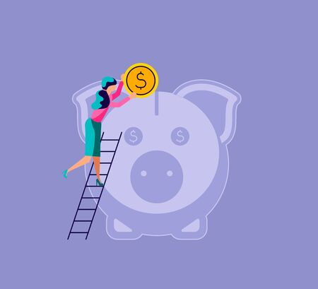 Woman puts a coin in the piggy bank. The metaphor of accumulating personal capital and saving money. Isolated on purple. Flat Art Vector Illustration