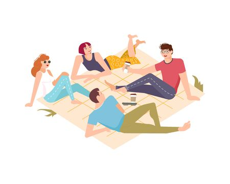 People have a rest and outdoor picnic. Company of friends or colleagues spend lunchtime on the lawn of a park or in nature, drink coffee and talk. Flat Art Vector Illustration Vektoros illusztráció