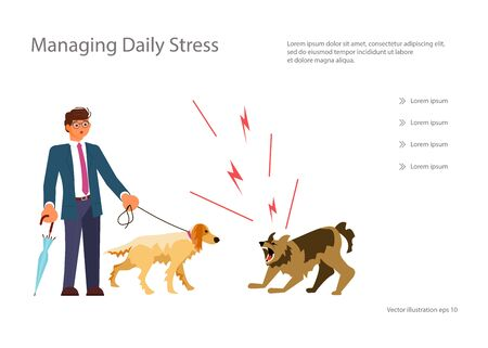 Landing web page template with A man walks with a well-bred thoroughbred dog, an angry mad mongrel attacked them. Flat Art Vector Illustration Illustration