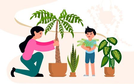 A female florist planting a palm tree, a little boy helps her. Crazy plant lady, floriculture hobby and Urban jungle concept. Flat Art Vector Illustration Ilustrace
