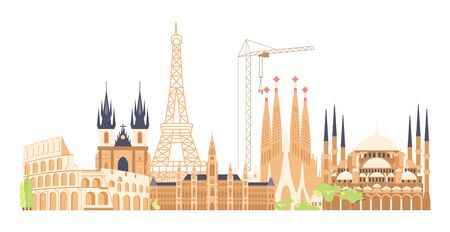 Journey European to the most renowned sights. Architectural buildings of the famous european cities. Horizontal travet banner. Flat Art Vector Illustration  イラスト・ベクター素材