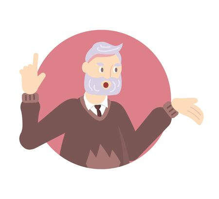 Quarantined people look out of the windows of their apartments. Old man applauds and thanks doctors. Flat Art Vector Illustration