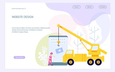 Landing web page template with website development, under construction, webpage building process, site form layout and interface develop. Flat Art Vector Illustration Ilustração