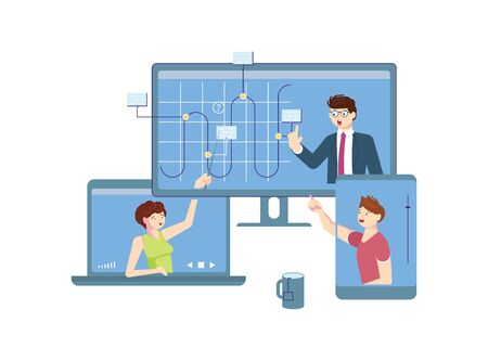 Self isolation period or quarantine concept. People stay at home, have collective virtual meeting for coronavirus preventive measures. Teammate have video conference. Flat Art Vector Illustration