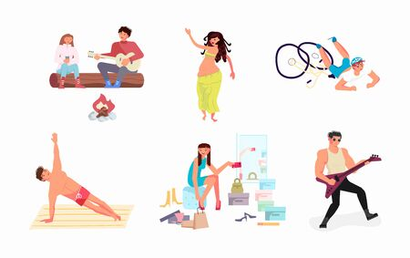 Set of variety talents, skills, and hobbies. Bundle of creative men and women enjoying their occupations. Young and old people activity. Flat Art Vector Illustration