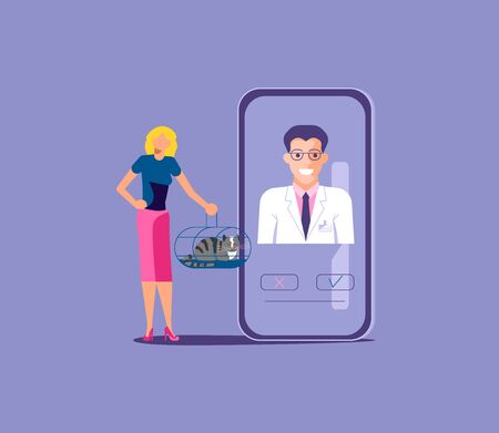 Pet female owner with cat have online consultation with veterinarian. Veterinary doctor appointment by mobile app. Isolated on purple. Flat Art Vector Illustration