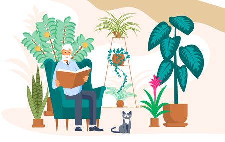 Elderly man sits in chair and reads a book between home flowers. Crazy plant senior, floriculture hobby and Urban jungle concept. Flat Art Vector Illustration