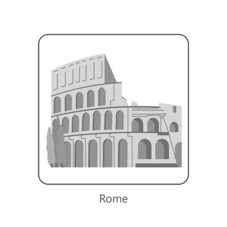 Famous European landmarks. Monochrome symbol of Rome. Isolated on white. Flat Art Vector Illustration Illustration