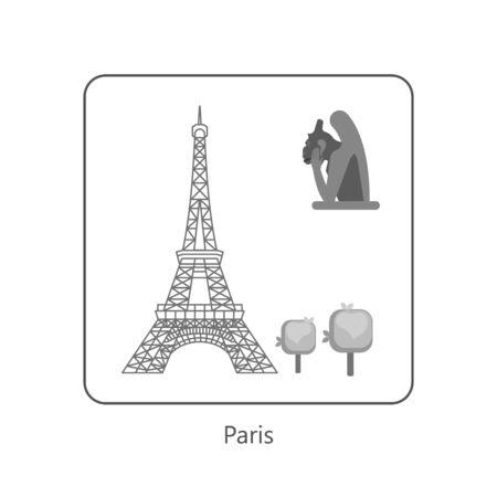 Famous European landmarks. Monochrome symbol of Paric. Isolated on white. Flat Art Vector Illustration Vectores