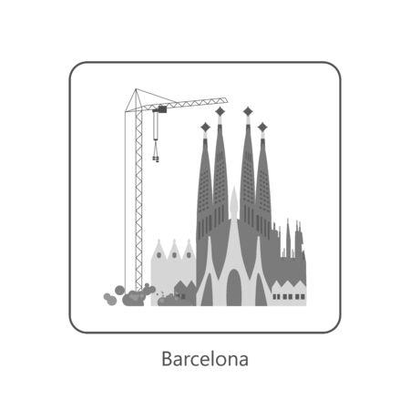 Famous European landmarks. Monochrome symbol of Barcelona. Isolated on white. Flat Art Vector Illustration  イラスト・ベクター素材