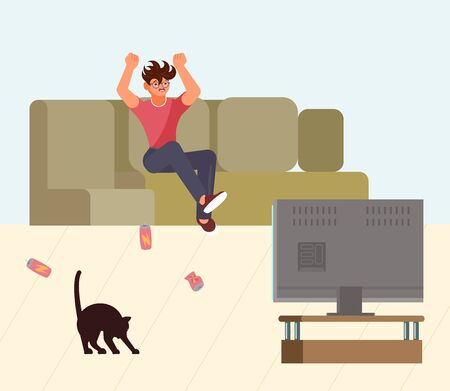 Man is watching the news while sitting on the couch and feels reimbursement and anger. Toxic media and fake news concept. Flat Art Vector Illustration