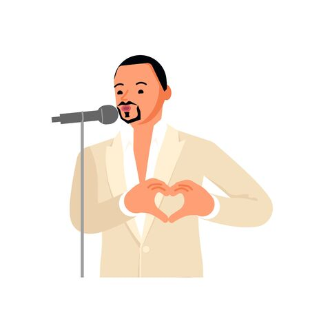 Handsome male singer in white suit is singing into a mic and showing a heart by his hands. Flat Art Vector Illustration