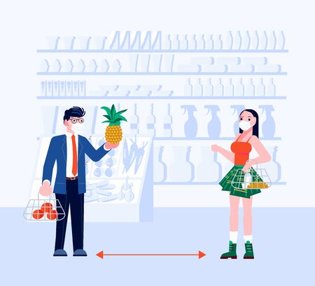 Social distancing in human society. People shopping in grocery keeping a distance. Concept of precautions epidemic outbreak and awareness. Flat Art Vector Illustration