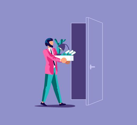 Dismissed frustrated man carrying box with her things. Unemployment and jobless or job reduction metaphor. Isolated on purple. Flat Art Vector Illustration