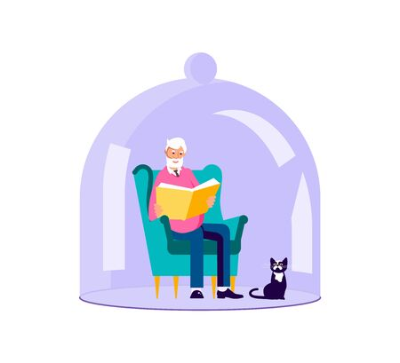 Senior sits in chair and reads a book Under Glass Cover. Old man closed from the Coronavirus with transparent glass semi-sphere during Self isolation period or quarantine. Flat Art Vector Illustration Vetores