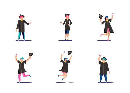 Set of graduated man and woman in academic dresses jumping for joy and throws up the square academic caps Celebration of Graduation day Students in college and university Flat Art Vector Illustration