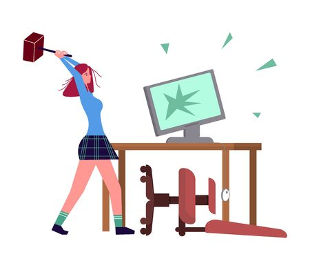 Woman with burnout syndrome destroys his workplace and computer. Psychological trauma and mental disorder metaphor. Flat Art Vector Illustration  イラスト・ベクター素材