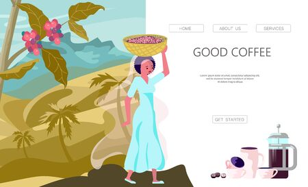 Landing web page template with female coffee farmer hold basket with mature coffee beans. Panoramic coffee plantation landscape. Branch with coffee beans and hills. Flat Art Vector Illustration
