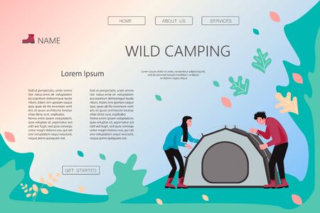 Landing web page template with Hiking trekking people. Happy man and woman backpackers hikers put up a tent in the camp. Adventure and camping in nature. Flat Art Vector Illustration