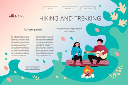 Landing web page template with Hiking trekking people. Happy man and woman backpackers hikers travel together, sit around campfire, play the guitar. Adventure and camping. Flat Art Vector Illustration