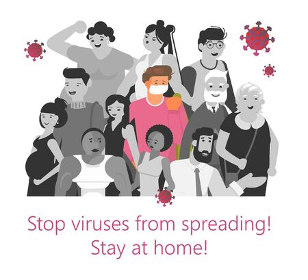 Viruses spreading concept. Coronavirus carrier a sick person in a crowd infects other people. Banner of precautions epidemic outbreak and awareness. Flat Art Vector Illustration