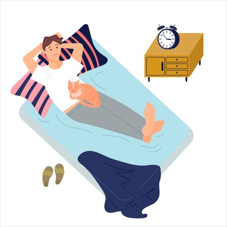 Young man character is lying on back in bed with insomnia. Female Insomniac with cat. Sleeping control concept. Flat Art Vector illustration