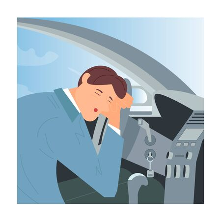 Tired or drunk man sleeping at the wheel of his car. Sleepy People  while driving as a result of insomnia and lack of sleep. Flat Art Vector Illustration Illustration