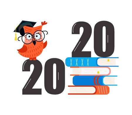 Graduated concept 2020 year, stack of textbooks and an owl Isolated on white background.  Ilustrace