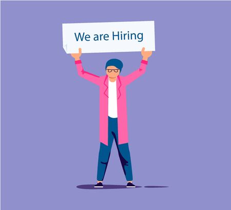 Along headhunter holds in hands a plate - We are hiring. Character for employee recruitment concept. Flat Art Vector illustration