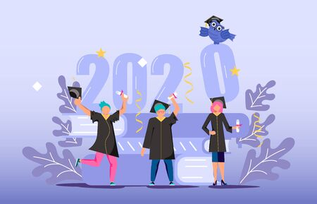 Graduated concept 2020 year, tiny students wearing academic gown and graduation cap celebrate graduation. A stack of textbooks and an owl in the background. Flat Art Vector Illustration Ilustrace