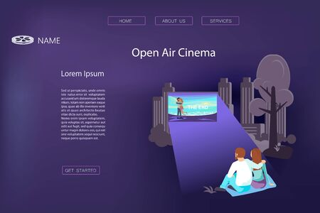 Landing web page template with Open air cinema concept. Love pair is relaxing in a park and watching a movie on the street on dark blue background. Flat Art Vector illustration