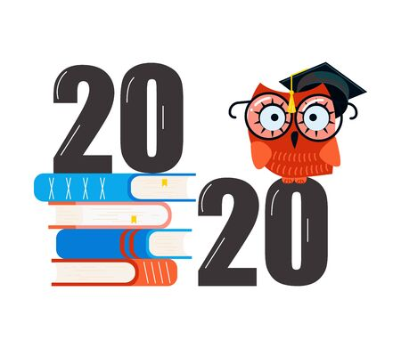 Graduated concept 2020 year, stack of textbooks and an owl Isolated on white background. Flat Art Vector Illustration