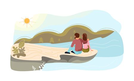 Romantic couple in love hugging sitting on a high rock of cliff above the river. Metaphor of freedom and harmony with nature. Flat Art Vector Illustration