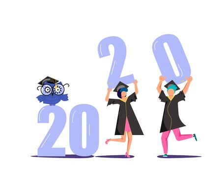Graduated concept 2020 year, students wearing academic gown and graduation cap holding numbers in their hands. Flat Art Vector Illustration