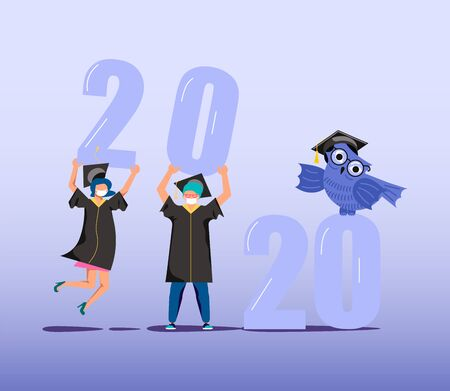 Graduated concept 2020 year, students in medical mask wearing academic gown and graduation cap holding numbers in their hands. Flat Art Vector Illustration