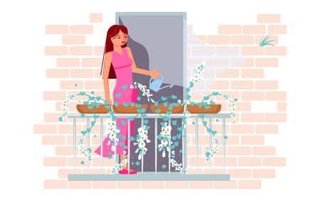A young woman is watering flowers on the balcony. Activity and hobbies during the coronavirus pandemic. Flat Art Vector Illustration