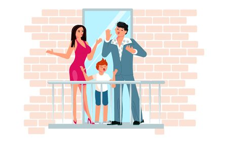 Family of mom, dad and son sing in unison on the balcony. Activity and hobbies during the coronavirus pandemic. Flat Art Vector Illustration 벡터 (일러스트)