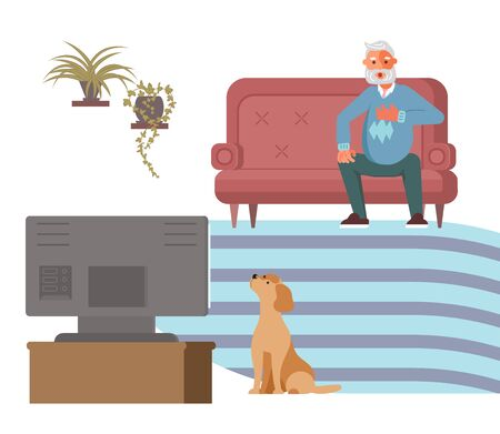 Old man is watching news while sitting on the couch and feels reimbursement and anger. Toxic media and fake news concept. Flat Art Vector Illustration