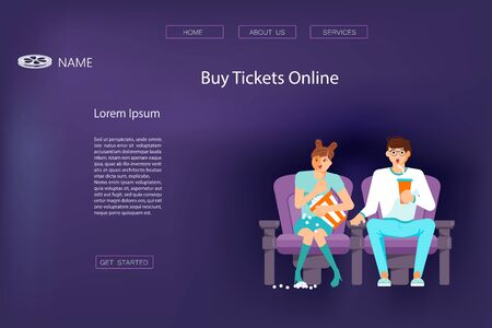Landing web page template with People in 3d glasses sitting in cinema. Young man and woman watching movie on dark blue background. . Characters with popcorn and soda. Flat Art Vector Illustration