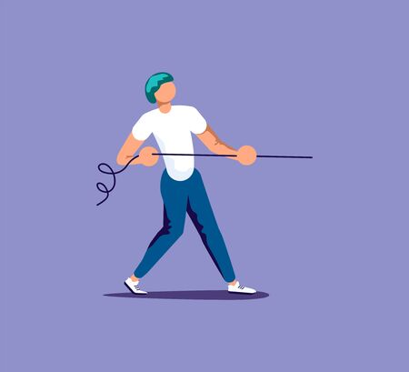 Young man pull the rope business concept. Tug of war, competition metaphor. Isolated on purple. Flat Art Vector Illustration