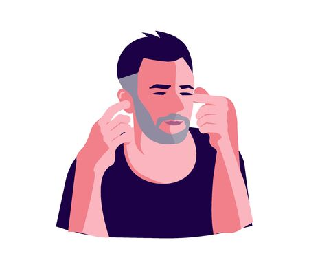 Man is covering his ears with fingers portrait. Not hear or listen no evil metaphor isolated on white. Flat Art Vector Illustration