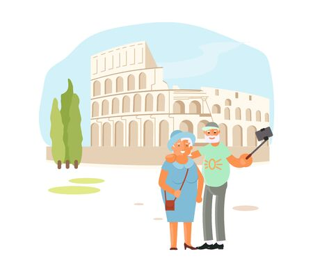 Romantic elderly couple are Taking Selfie Photo With Self Stick with Coliseum in Roma. Cute cartoon characters active old people have romantic trip around Europe. Flat Art Vector Illustration