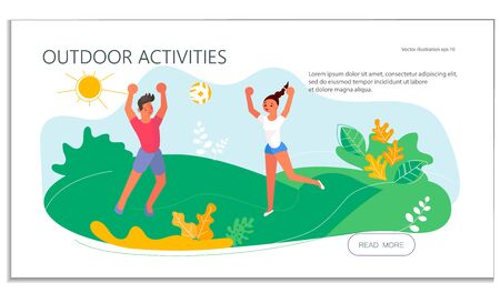 Landing web page template with Summer outdoor activity volleyball. People playing volleyball on the lawn. Sports competition. Flat Art Vector Illustration